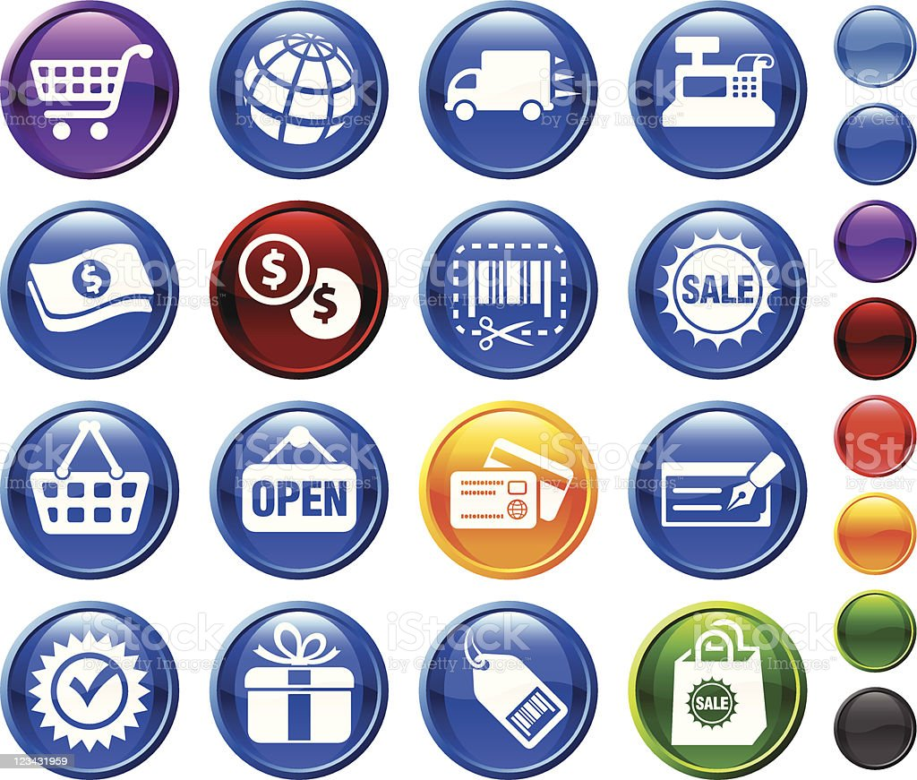 Shopping and e-commerce royalty free vector icon set royalty-free stock vector art