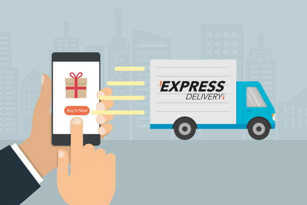 """Shopping and express delivery concept. Hand press button """"buy it now"""" on mobile phone and delivery truck sending to buyer. vector art illustration"""