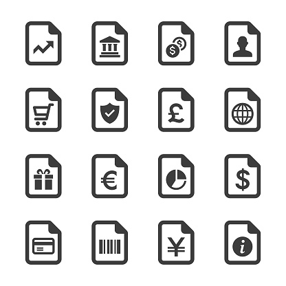 Shopping and Finance Document Icons Set
