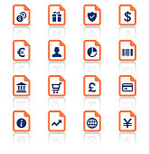 An illustration of shopping and finance document icons set for your web page, presentation, apps and design products. Vector format can be fully scalable & editable.
