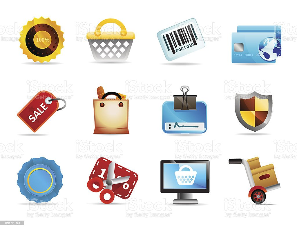Shopping and Grocery Icons royalty-free stock vector art