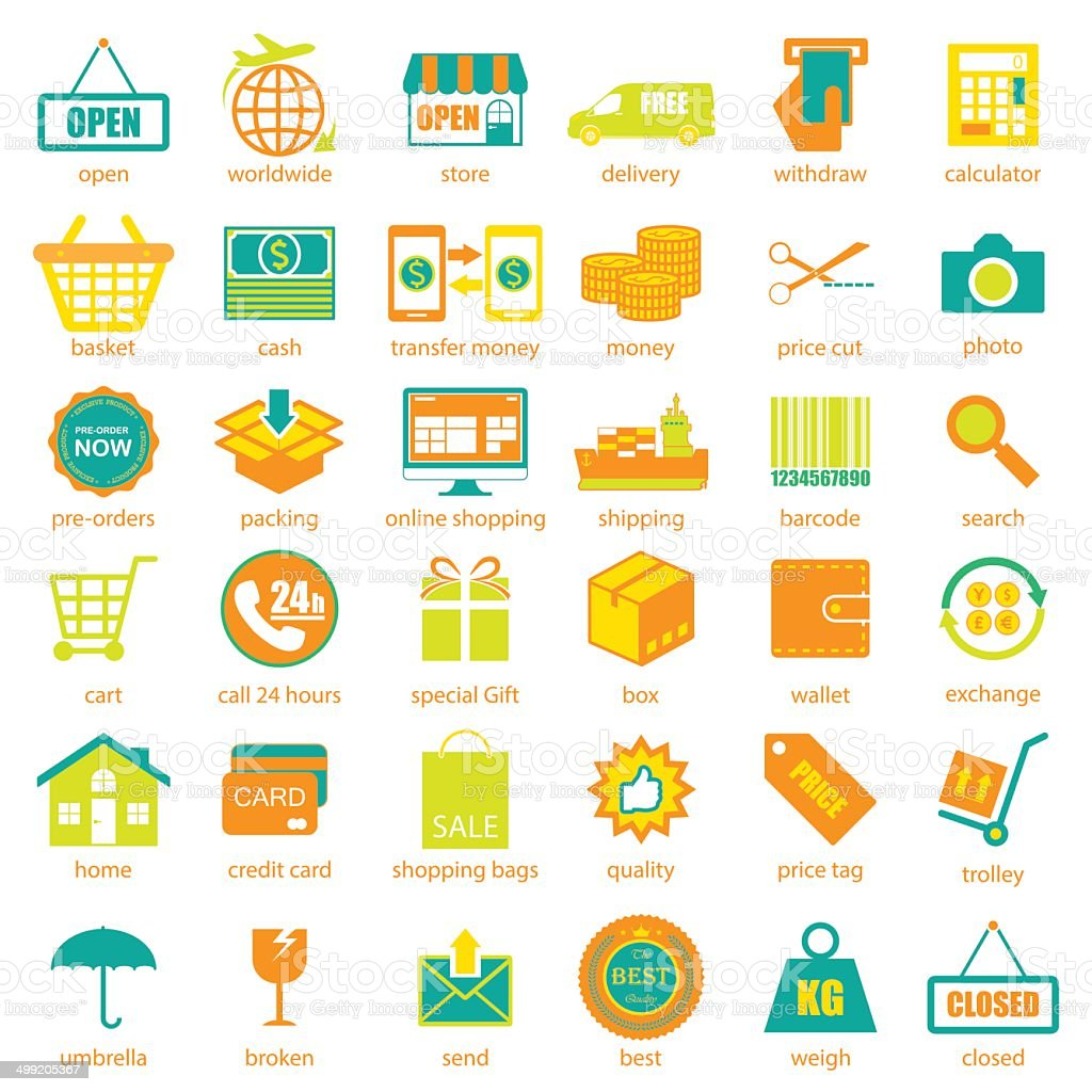 Shopping and logistic icons set, vector vector art illustration