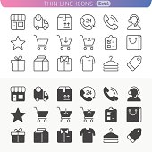 Shopping and money line icon set