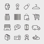 Shopping and online shopping line icon