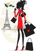 Shopping in Paris. JPG and EPS. Vector.