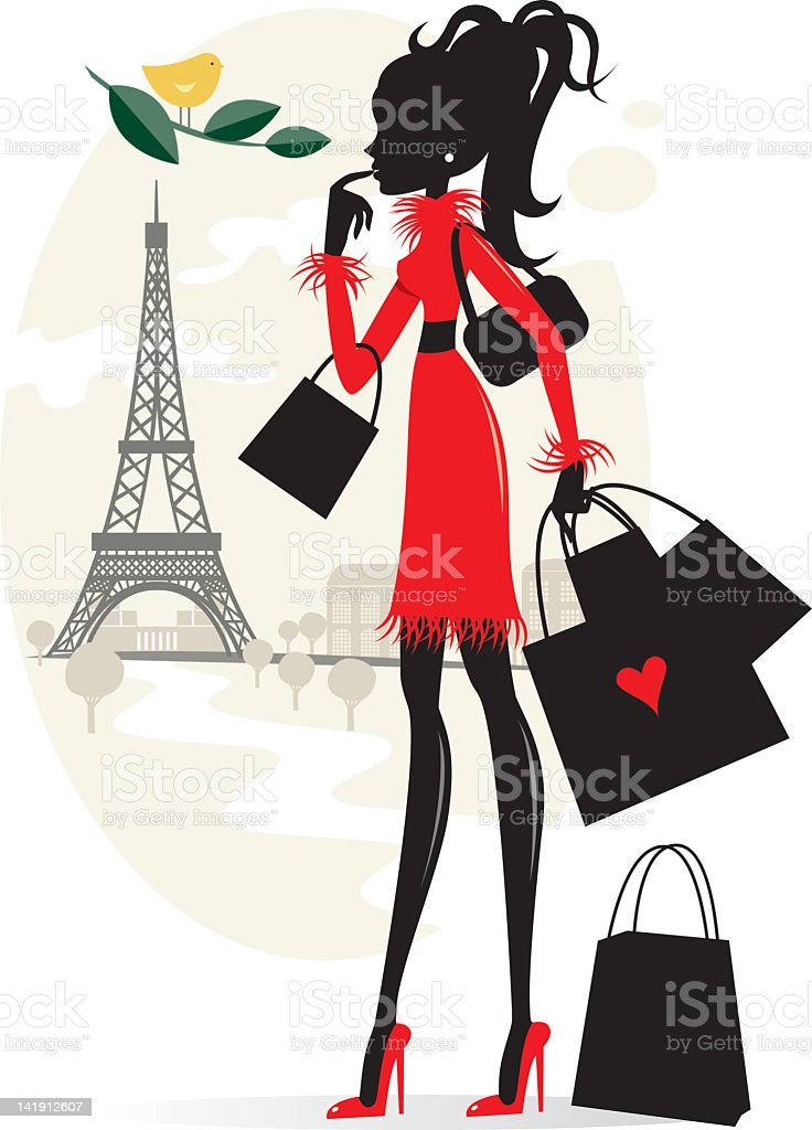 Shopping and Paris vector art illustration