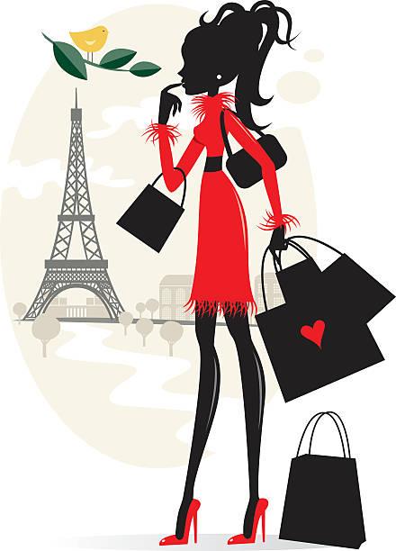 ilustraciones, imágenes clip art, dibujos animados e iconos de stock de compras y de parís - moda parisina