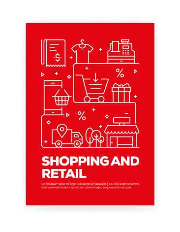 Shopping and Retail Concept Line Style Cover Design for Annual Report, Flyer, Brochure.