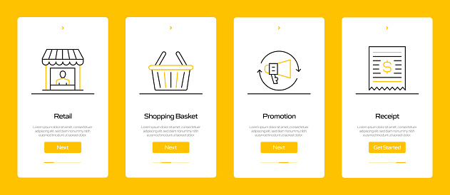 Shopping and Retail Concept Onboarding Mobile App Page Screen with Flat Icons. UX, UI Design Template Vector Illustration