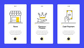 istock Shopping and Retail Concept Onboarding Mobile App Page Screen with Flat Icons. UX, UI Design Template Vector Illustration 1302396696