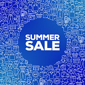 SUMMER SALE - Shopping and Retail Concept Vector Pattern and Abstract Background.