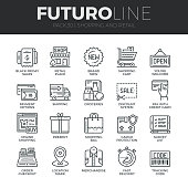 Shopping and Retail Futuro Line Icons Set