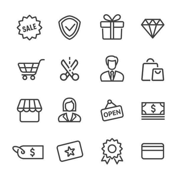 Shopping and Retail Icon - Line Series Shopping, Buying, Retail, Sale, open sign stock illustrations
