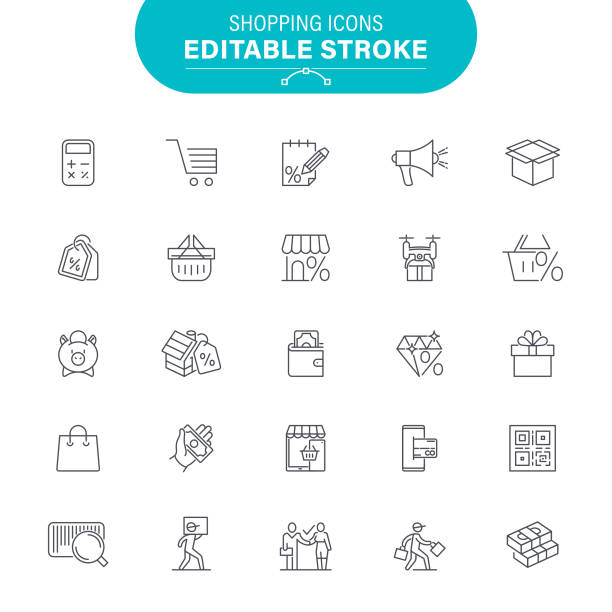 Shopping and Retail Icons vector art illustration