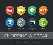 Shopping and Retail chart with keywords and icons. Flat design with long shadows
