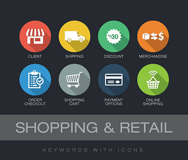 shopping and retail keywords with icons - 긴 그림자 디자인 stock illustrations