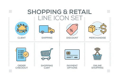 Shopping and Retail keywords with line icons