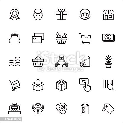Shopping and Retail - 25 Outline Style - Single black line icons - Pixel Perfect / Pack #88 / Icons are designed in 48x48pх square, outline stroke 2px.  First row of outline icons contains: Quality Mark, Delivery, Gift, Call Center, Store;  Second row contains: Change Purse, Basket, Credit Card, Shopping Cart, Money;  Third row contains: Savings, Shopping Basket, Franchise, Contract, Money Growth;  Fourth row contains: Hand Truck, Unpacking, Packaging, Add to Cart, Bar Code;  Fifth row contains: Cash Register, Fragile, 24 Hrs, Checklist, Price Tag.  Complete Grandico collection - https://www.istockphoto.com/collaboration/boards/FwH1Zhu0rEuOegMW0JMa_w