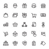 Shopping and Retail - 25 Outline Style - Single black line icons - Pixel Perfect / Pack #88 / Icons are designed in 48x48pх square, outline stroke 2px.\n\nFirst row of outline icons contains:\nQuality Mark, Delivery, Gift, Call Center, Store;\n\nSecond row contains:\nChange Purse, Basket, Credit Card, Shopping Cart, Money;\n\nThird row contains:\nSavings, Shopping Basket, Franchise, Contract, Money Growth;\n\nFourth row contains:\nHand Truck, Unpacking, Packaging, Add to Cart, Bar Code;\n\nFifth row contains:\nCash Register, Fragile, 24 Hrs, Checklist, Price Tag.\n\nComplete Grandico collection - https://www.istockphoto.com/collaboration/boards/FwH1Zhu0rEuOegMW0JMa_w