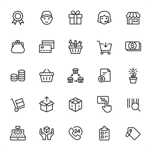 Shopping and Retail - Outline Icon Set Shopping and Retail - 25 Outline Style - Single black line icons - Pixel Perfect / Pack #88 / Icons are designed in 48x48pх square, outline stroke 2px.  First row of outline icons contains: Quality Mark, Delivery, Gift, Call Center, Store;  Second row contains: Change Purse, Basket, Credit Card, Shopping Cart, Money;  Third row contains: Savings, Shopping Basket, Franchise, Contract, Money Growth;  Fourth row contains: Hand Truck, Unpacking, Packaging, Add to Cart, Bar Code;  Fifth row contains: Cash Register, Fragile, 24 Hrs, Checklist, Price Tag.  Complete Grandico collection - https://www.istockphoto.com/collaboration/boards/FwH1Zhu0rEuOegMW0JMa_w change purse stock illustrations