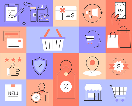 Shopping and Retail Related Modern Line Style Vector Illustration
