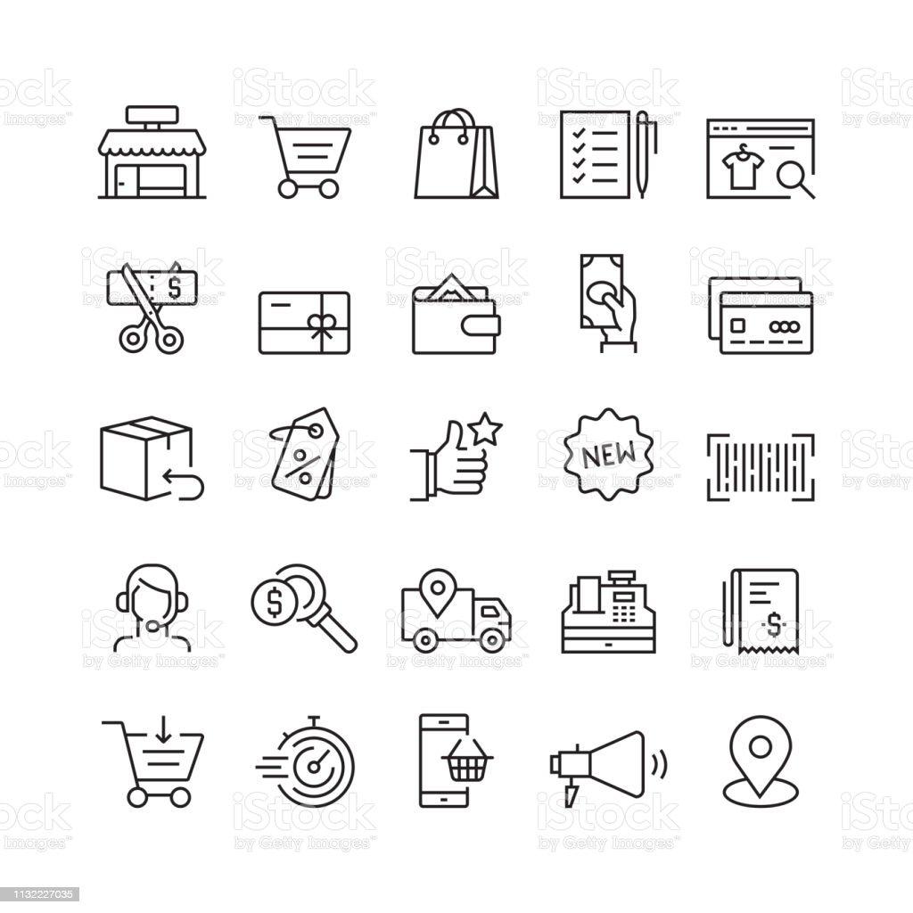 Shopping and Retail Related Vector Line Icons - Grafika wektorowa royalty-free (Artykuły spożywcze)