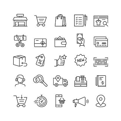 Shopping And Retail Related Vector Line Icons - Stockowe grafiki wektorowe i więcej obrazów Artykuły spożywcze