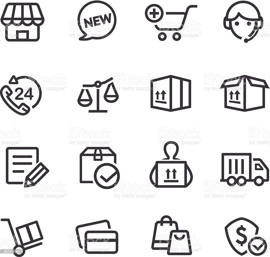 Shopping and Shipping Icons - Line Series vector art illustration