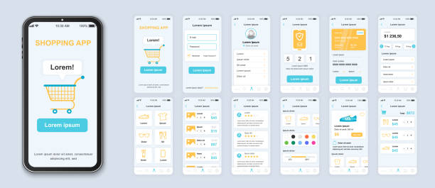 Shopping app smartphone interface vector templates set. vector art illustration