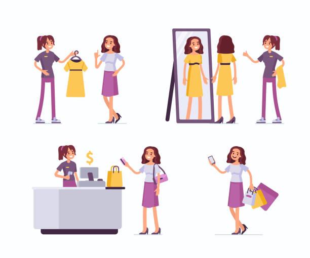 ショッピング援助 - 株式仲買人点のイラスト素材/クリップアート素材/マンガ素材/アイコン素材