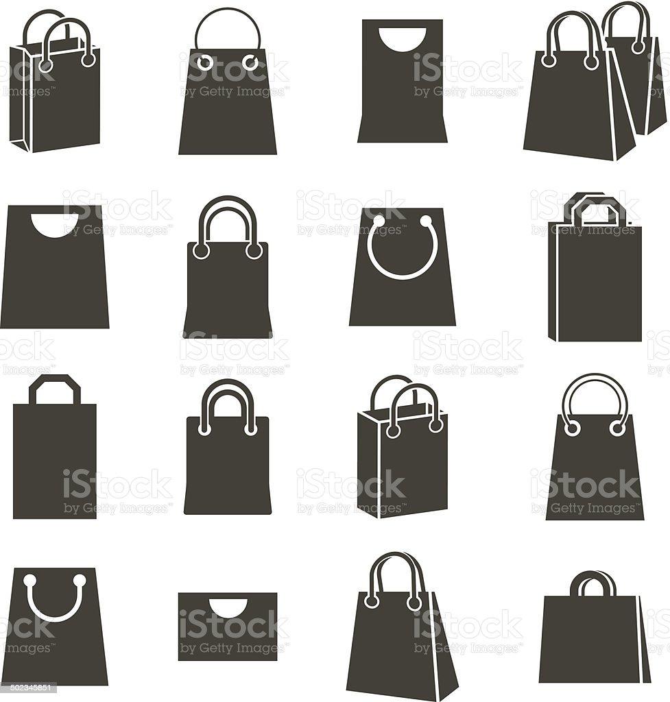 Shopping back icons isolated on white background vector art illustration