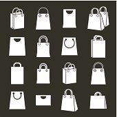 Shopping back icons vector set, shopping theme simplistic symbols vector collections.