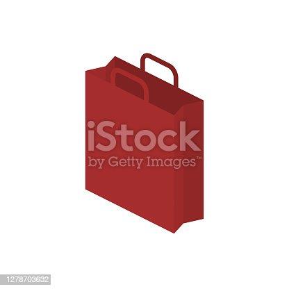 istock Shopping bag. 3d isometric icon. Paper bag vector illustration 1278703632