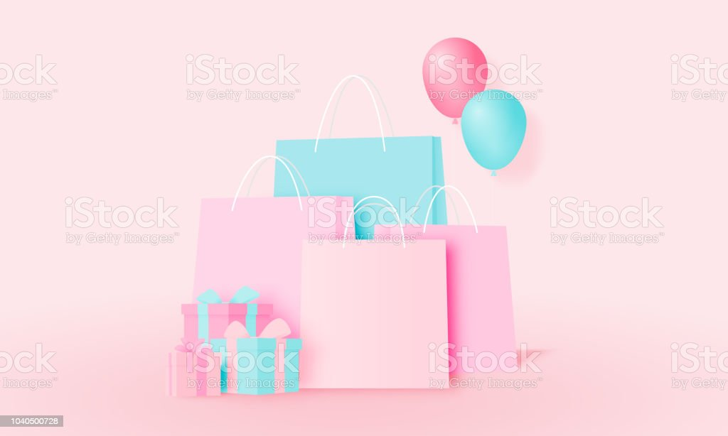 Shopping bag and present box in paper art style and pastel scheme...