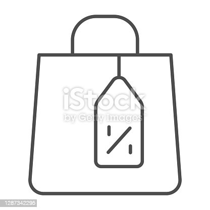 istock Shopping bag and tag thin line icon, Black Friday concept, Shopping paper bag sign on white background, Package for goods and tag with discount percentage icon in outline style. Vector graphics. 1287342295