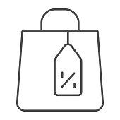 Shopping bag and tag thin line icon, Black Friday concept, Shopping paper bag sign on white background, Package for goods and tag with discount percentage icon in outline style. Vector graphics