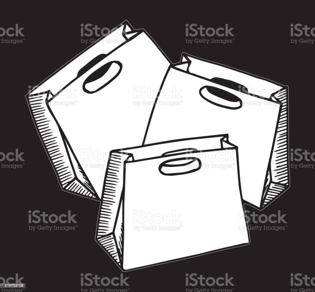 Vetor De Saco De Compra Papelão Ilustração Desenho Ilustração
