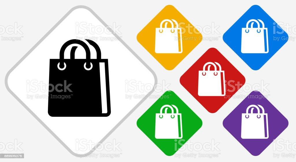 Shopping Bag Color Diamond Vector Icon vector art illustration