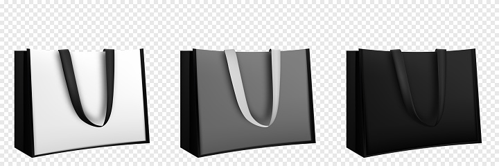 Shopping bag design. Black and white tote shopping bags identity mock-up item template transparent background.