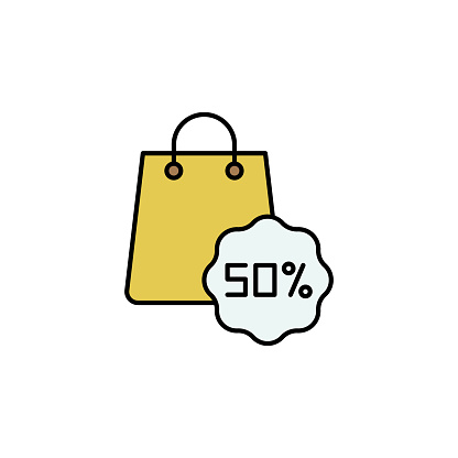 shopping, bag, discount line icon. Elements of black friday and sales icon. Premium quality graphic design icon. Can be used for web, logo, mobile app, UI, UX on white background