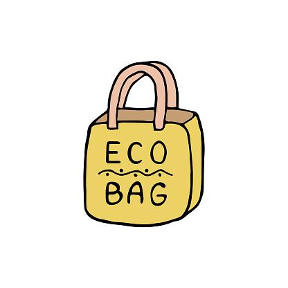 shopping bag. eco bag. hand drawn eco bag isolated.eco bag logo. hand drawn eco bag logo, icon, sign. one eco bag.grocery bag, shopping. Reusable and recyclable eco items.Plastic free. Go green.
