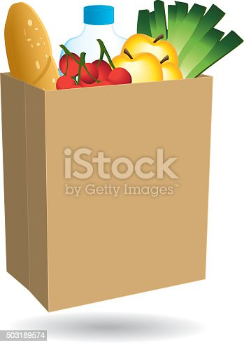 istock Shopping bag filled with food. 503189574