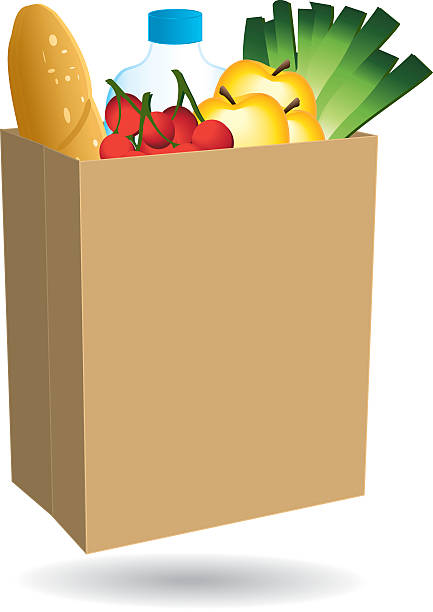 Shopping bag filled with food. Shopping bag filled with food. Free delivery or nearby merchant icon.  stuffed stock illustrations