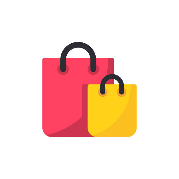 illustrazioni stock, clip art, cartoni animati e icone di tendenza di shopping bag flat icon. pixel perfect. for mobile and web. - acquisti