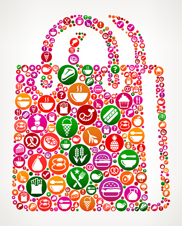Shopping Bag  Food and Diet Vector Icon Background