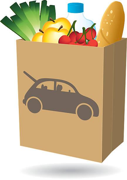Shopping bag. Fresh food. Drive icon. Shopping bag. Fresh food. Drive icon. Vector illustration I. driveway stock illustrations