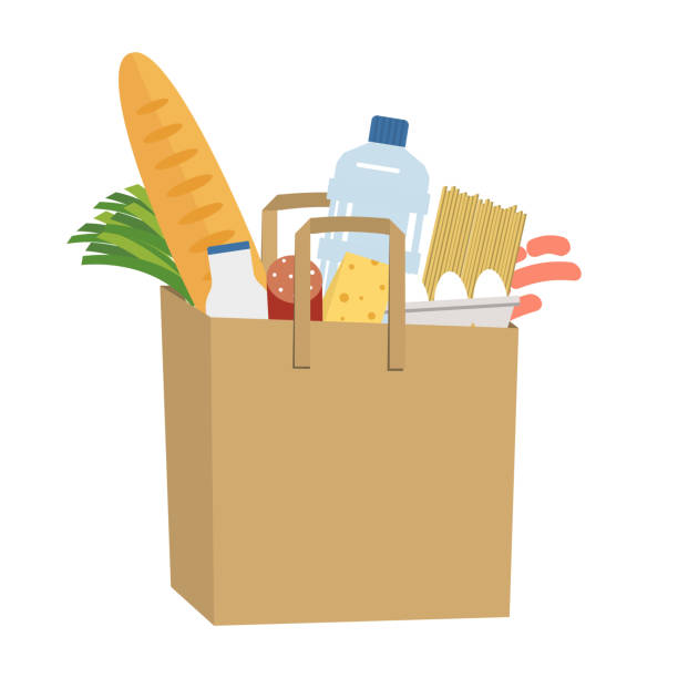 Shopping bag full of food and drinks. Food Delivery Concept vector art illustration