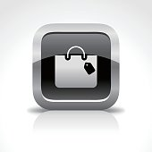 Shopping Bag Glossy Button Icon