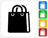 Shopping Bag Icon. This 100% royalty free vector illustration features the main icon pictured in black inside a white square. The alternative color options in blue, green, yellow and red are on the right of the icon and are arranged in a vertical column.