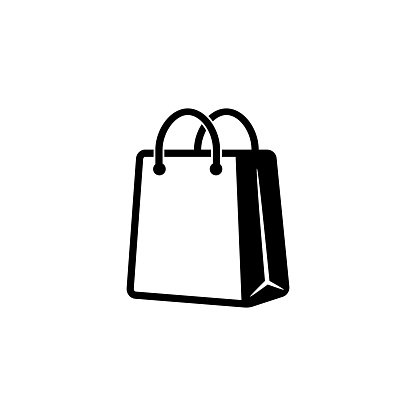 Shopping bag icon in black. Eco paper bag. Handbag icon. Vector on isolated white background. EPS 10.